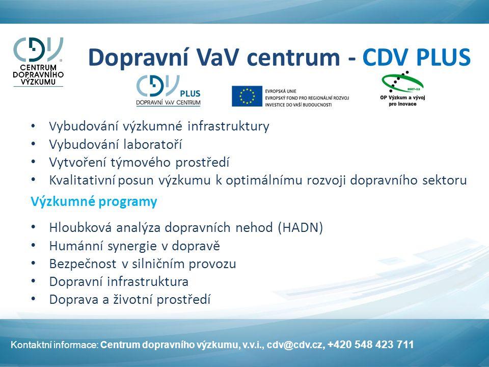 Dopravní VaV centrum - CDV PLUS V ybudování výzkumné infrastruktury Vybudování laboratoří Vytvoření týmového prostředí Kvalitativní posun výzkumu k op