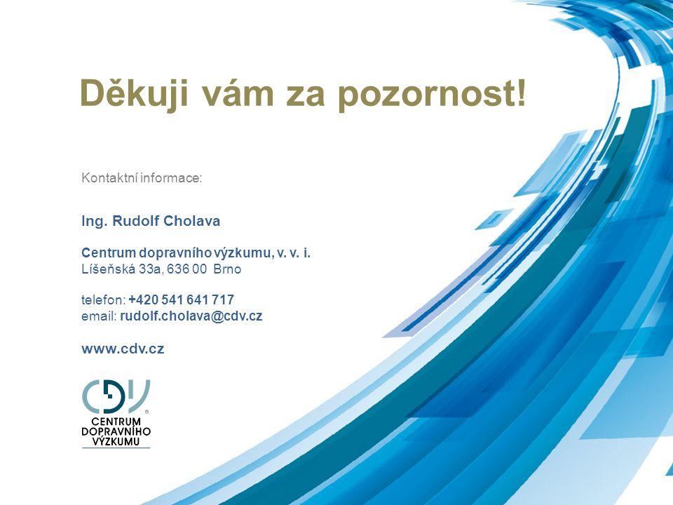 Děkuji vám za pozornost! Kontaktní informace: Ing. Rudolf Cholava Centrum dopravního výzkumu, v. v. i. Líšeňská 33a, 636 00 Brno telefon: +420 541 641