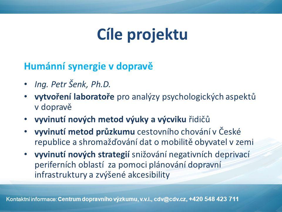 Cíle projektu Humánní synergie v dopravě Ing. Petr Šenk, Ph.D. vytvoření laboratoře pro analýzy psychologických aspektů v dopravě vyvinutí nových meto