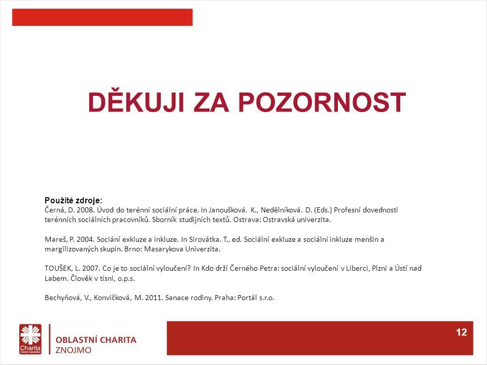 DĚKUJI ZA POZORNOST 12 Použité zdroje: Černá, D. 2008.