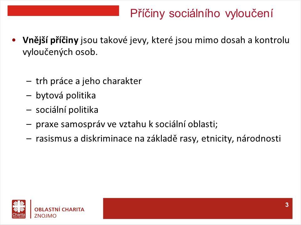 Příčiny sociálního vyloučení Vnější příčiny jsou takové jevy, které jsou mimo dosah a kontrolu vyloučených osob.