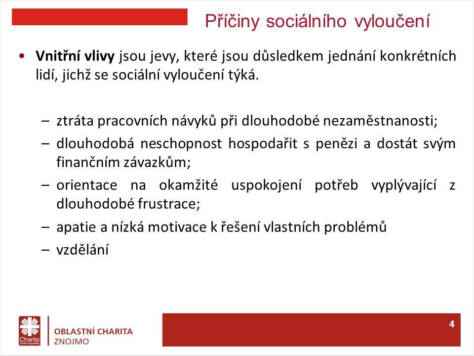 Příčiny sociálního vyloučení Vnitřní vlivy jsou jevy, které jsou důsledkem jednání konkrétních lidí, jichž se sociální vyloučení týká.