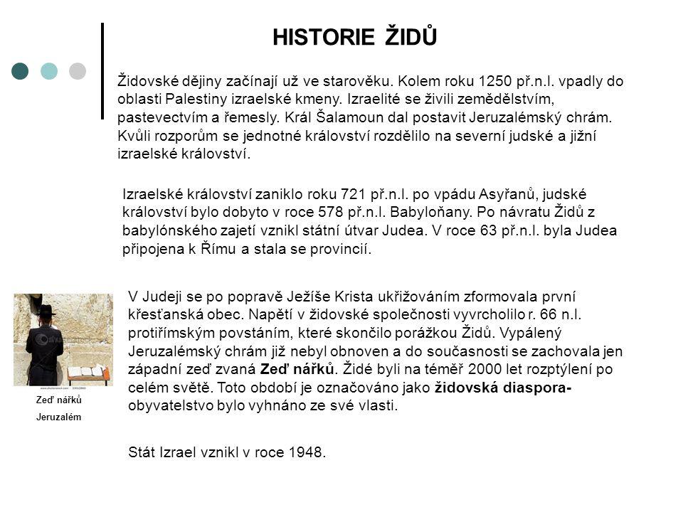 HISTORIE ŽIDŮ Židovské dějiny začínají už ve starověku.