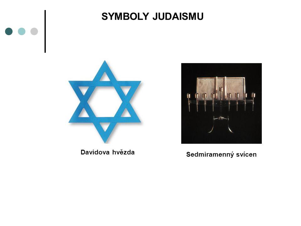 SYMBOLY JUDAISMU Davidova hvězda Sedmiramenný svícen