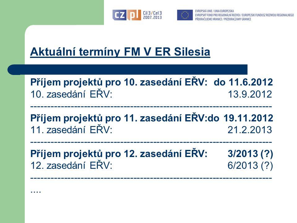 Aktuální termíny FM V ER Silesia Příjem projektů pro 10.