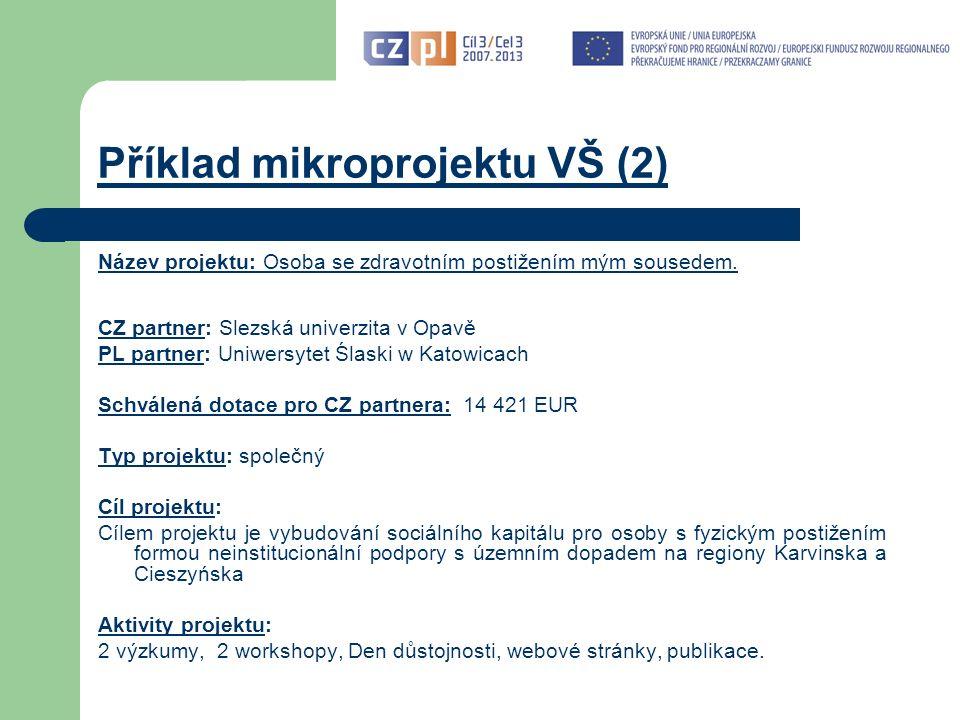 Příklad mikroprojektu VŠ (2) Název projektu: Osoba se zdravotním postižením mým sousedem.