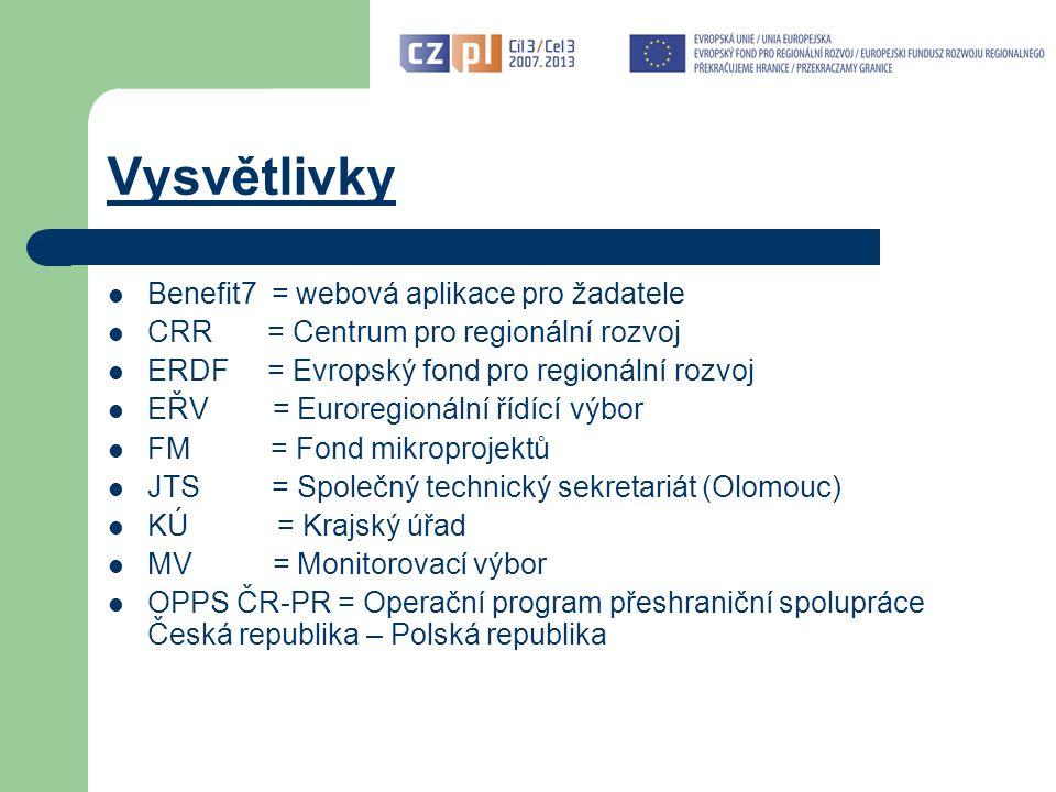 Vysvětlivky Benefit7 = webová aplikace pro žadatele CRR = Centrum pro regionální rozvoj ERDF = Evropský fond pro regionální rozvoj EŘV = Euroregionální řídící výbor FM = Fond mikroprojektů JTS = Společný technický sekretariát (Olomouc) KÚ = Krajský úřad MV = Monitorovací výbor OPPS ČR-PR = Operační program přeshraniční spolupráce Česká republika – Polská republika