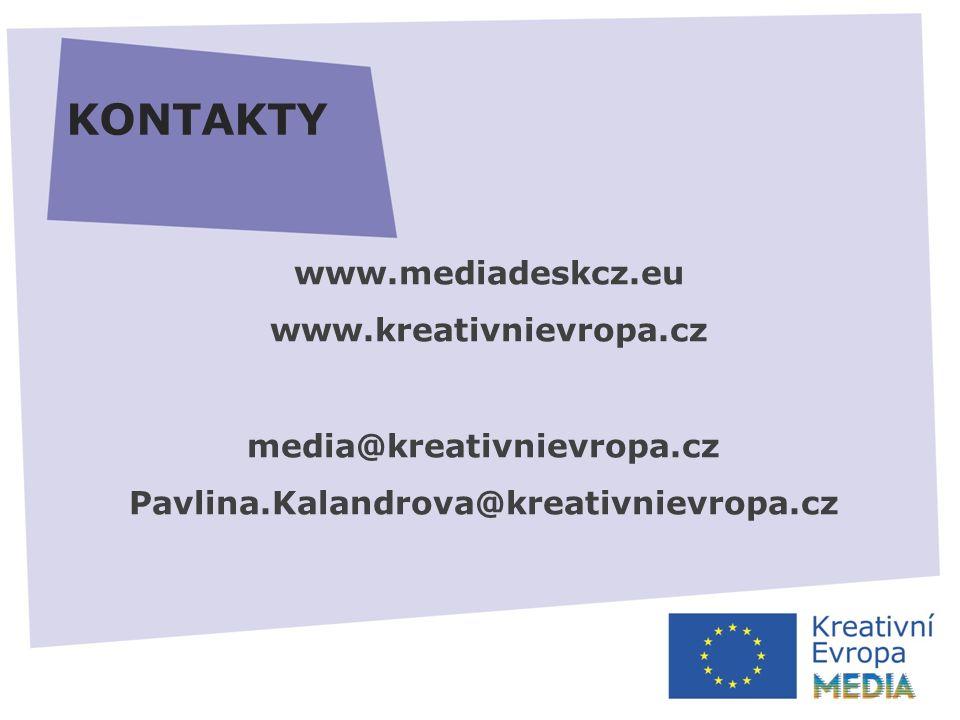 KONTAKTY www.mediadeskcz.eu www.kreativnievropa.cz media@kreativnievropa.cz Pavlina.Kalandrova@kreativnievropa.cz