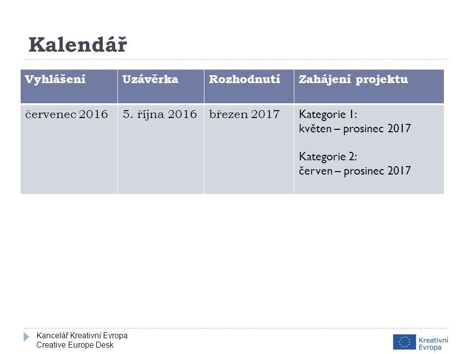 Kancelář Kreativní Evropa Creative Europe Desk Kalendář VyhlášeníUzávěrkaRozhodnutíZahájení projektu červenec 20165.