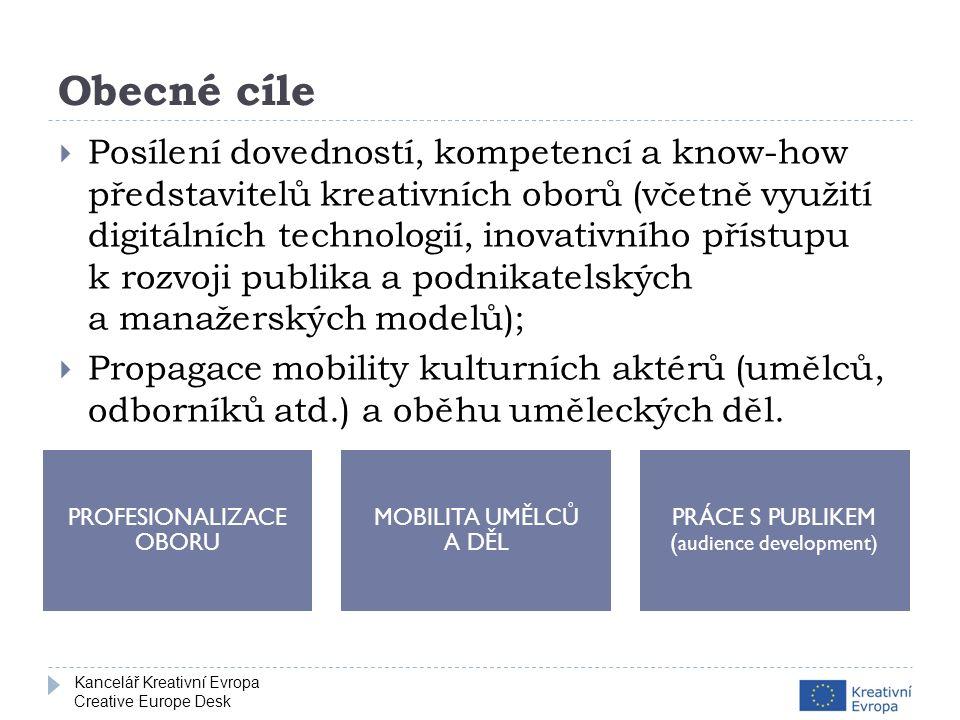 Kancelář Kreativní Evropa Creative Europe Desk Obecné cíle  Posílení dovedností, kompetencí a know-how představitelů kreativních oborů (včetně využití digitálních technologií, inovativního přístupu k rozvoji publika a podnikatelských a manažerských modelů);  Propagace mobility kulturních aktérů (umělců, odborníků atd.) a oběhu uměleckých děl.