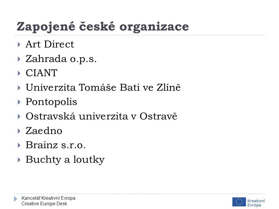 Kancelář Kreativní Evropa Creative Europe Desk Zapojené české organizace  Art Direct  Zahrada o.p.s.
