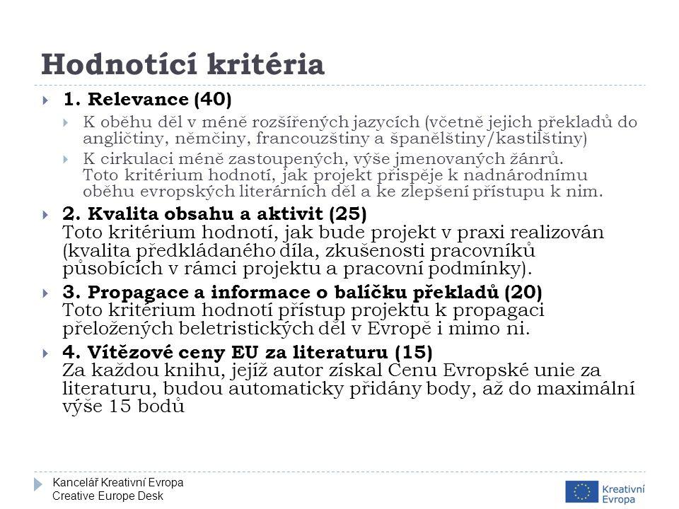 Kancelář Kreativní Evropa Creative Europe Desk Hodnotící kritéria  1.