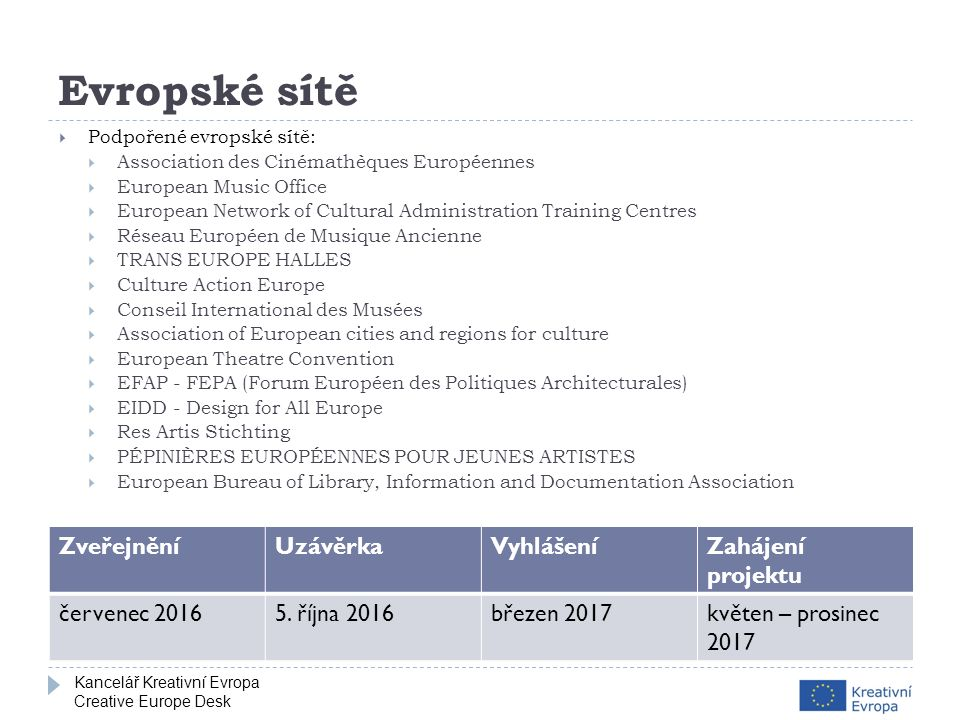 Kancelář Kreativní Evropa Creative Europe Desk Evropské sítě  Podpořené evropské sítě:  Association des Cinémathèques Européennes  European Music Office  European Network of Cultural Administration Training Centres  Réseau Européen de Musique Ancienne  TRANS EUROPE HALLES  Culture Action Europe  Conseil International des Musées  Association of European cities and regions for culture  European Theatre Convention  EFAP - FEPA (Forum Européen des Politiques Architecturales)  EIDD - Design for All Europe  Res Artis Stichting  PÉPINIÈRES EUROPÉENNES POUR JEUNES ARTISTES  European Bureau of Library, Information and Documentation Association ZveřejněníUzávěrkaVyhlášeníZahájení projektu červenec 20165.