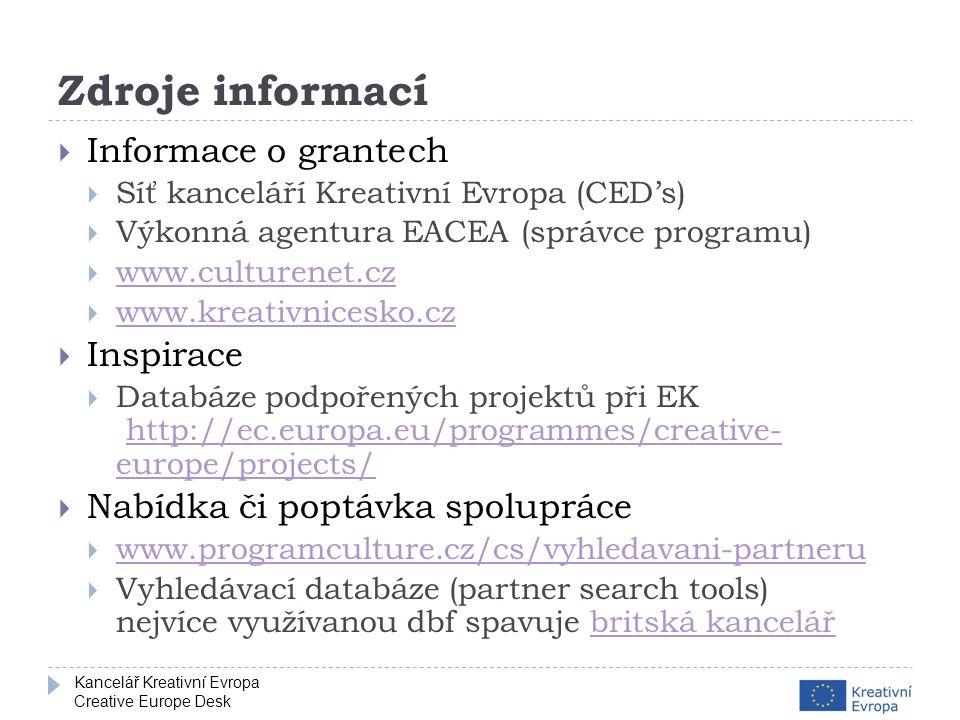 Kancelář Kreativní Evropa Creative Europe Desk Zdroje informací  Informace o grantech  Síť kanceláří Kreativní Evropa (CED's)  Výkonná agentura EACEA (správce programu)  www.culturenet.cz www.culturenet.cz  www.kreativnicesko.cz www.kreativnicesko.cz  Inspirace  Databáze podpořených projektů při EK http://ec.europa.eu/programmes/creative- europe/projects/http://ec.europa.eu/programmes/creative- europe/projects/  Nabídka či poptávka spolupráce  www.programculture.cz/cs/vyhledavani-partneru www.programculture.cz/cs/vyhledavani-partneru  Vyhledávací databáze (partner search tools) nejvíce využívanou dbf spavuje britská kancelářbritská kancelář