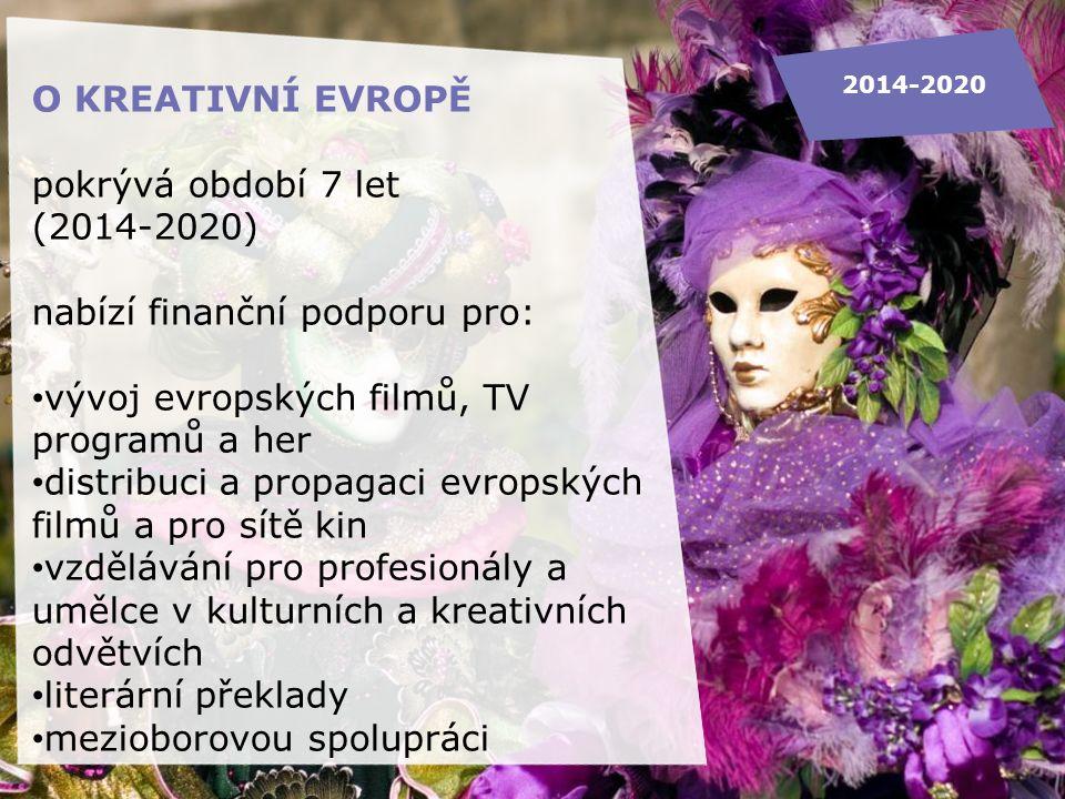 Kancelář Kreativní Evropa Creative Europe Desk O KREATIVNÍ EVROPĚ pokrývá období 7 let (2014-2020) nabízí finanční podporu pro: vývoj evropských filmů, TV programů a her distribuci a propagaci evropských filmů a pro sítě kin vzdělávání pro profesionály a umělce v kulturních a kreativních odvětvích literární překlady mezioborovou spolupráci 2014-2020