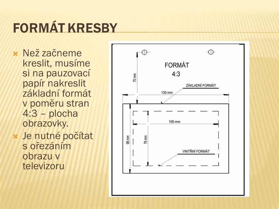 FORMÁT KRESBY  Než začneme kreslit, musíme si na pauzovací papír nakreslit základní formát v poměru stran 4:3 – plocha obrazovky.  Je nutné počítat