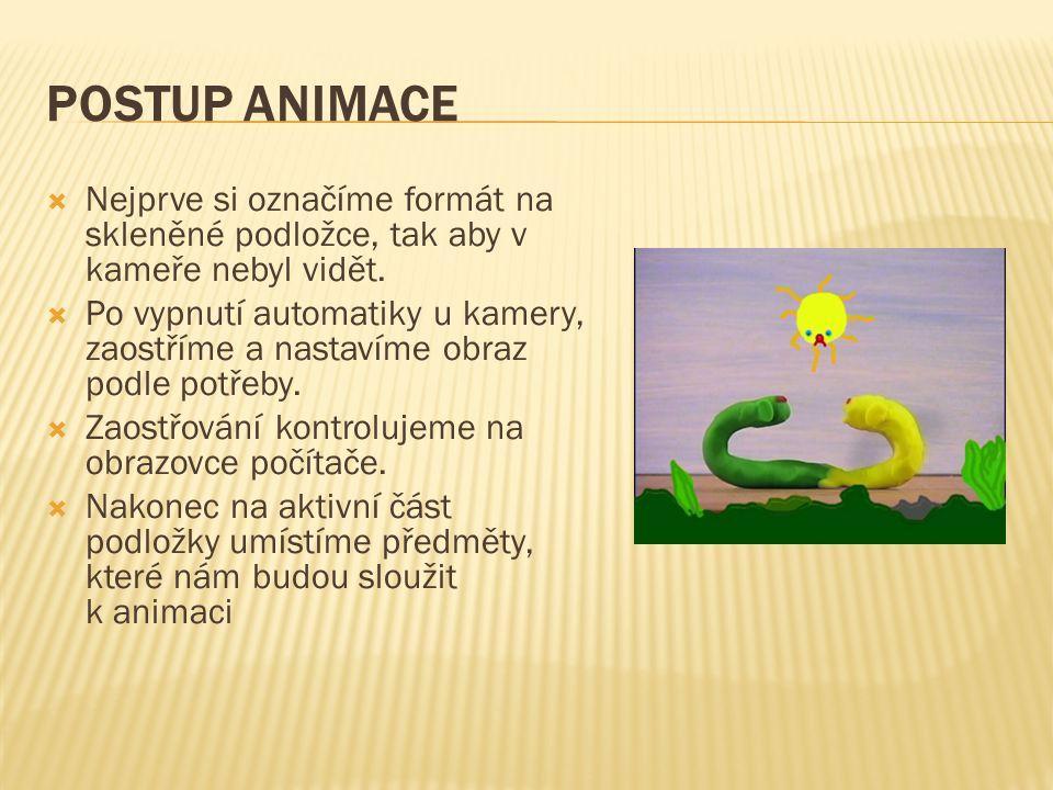 POSTUP ANIMACE  Nejprve si označíme formát na skleněné podložce, tak aby v kameře nebyl vidět.  Po vypnutí automatiky u kamery, zaostříme a nastavím