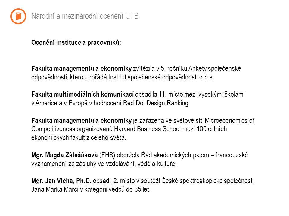 Národní a mezinárodní ocenění UTB Ocenění instituce a pracovníků: Fakulta managementu a ekonomiky zvítězila v 5.