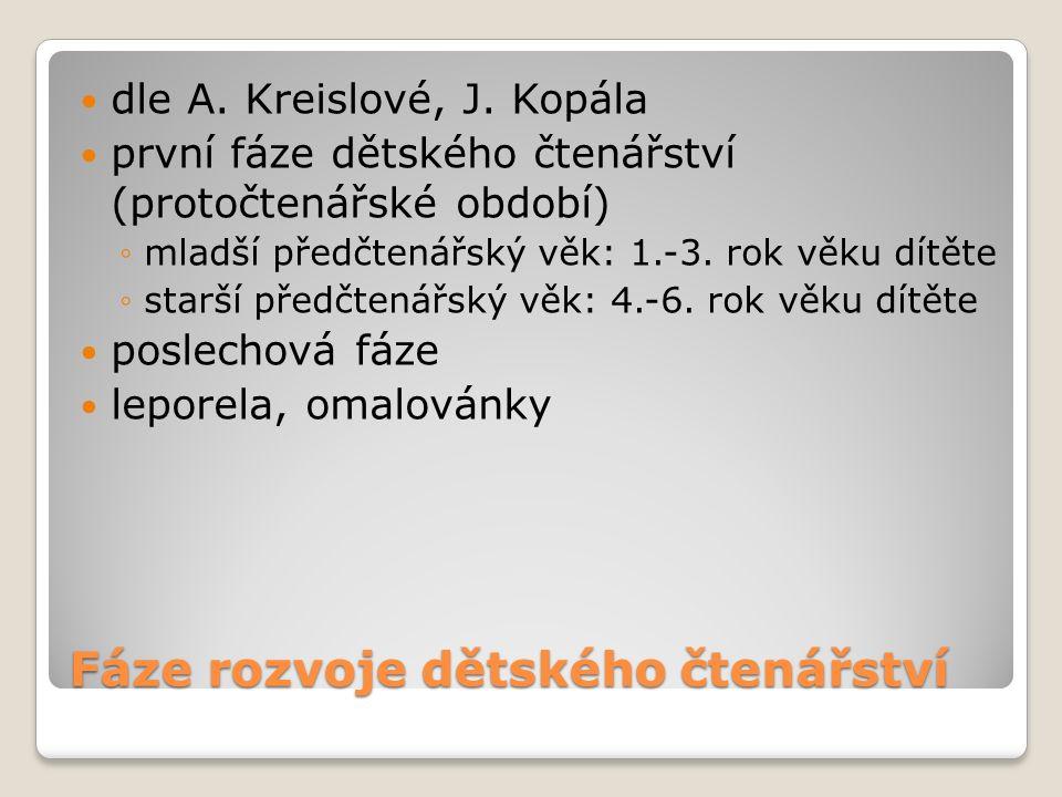 Fáze rozvoje dětského čtenářství dle A. Kreislové, J.