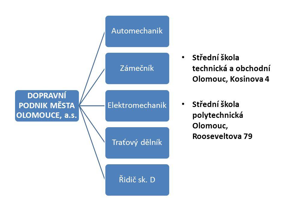 DOPRAVNÍ PODNIK MĚSTA OLOMOUCE, a.s.AutomechanikZámečníkElektromechanikTraťový dělníkŘidič sk.