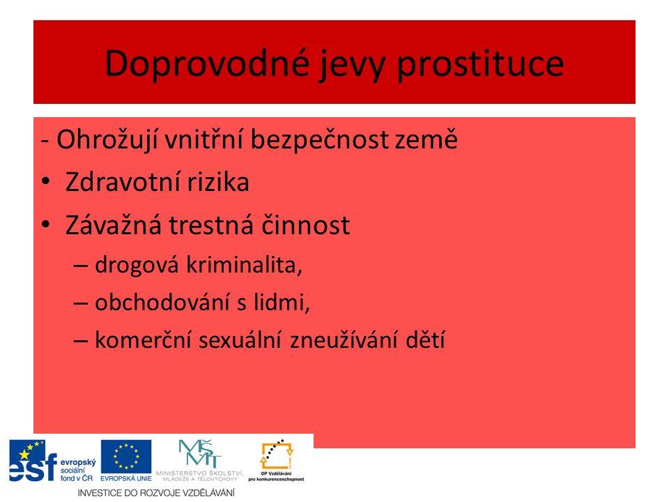 Doprovodné jevy prostituce - Ohrožují vnitřní bezpečnost země Zdravotní rizika Závažná trestná činnost – drogová kriminalita, – obchodování s lidmi, – komerční sexuální zneužívání dětí