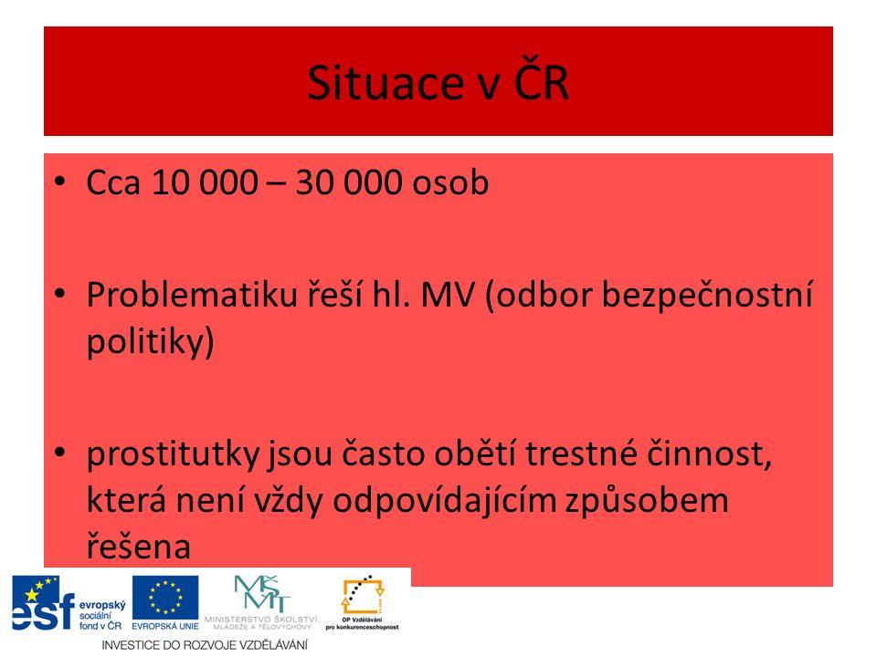 Situace v ČR Cca 10 000 – 30 000 osob Problematiku řeší hl.