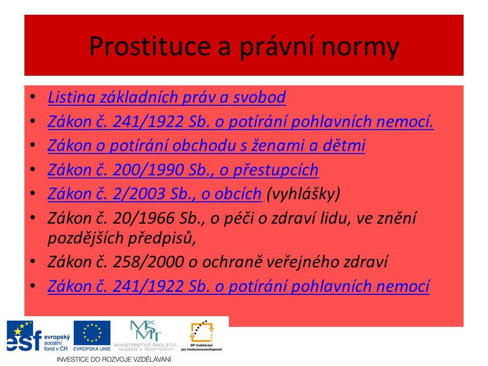 Prostituce a právní normy Listina základních práv a svobod Zákon č.