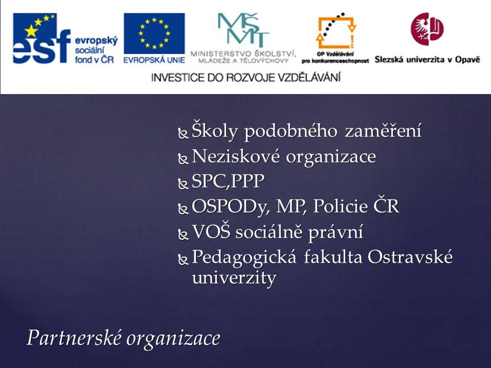  Školy podobného zaměření  Neziskové organizace  SPC,PPP  OSPODy, MP, Policie ČR  VOŠ sociálně právní  Pedagogická fakulta Ostravské univerzity Partnerské organizace