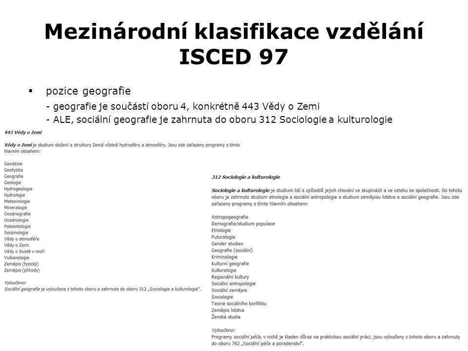 Mezinárodní klasifikace vzdělání ISCED 97  pozice geografie - geografie je součástí oboru 4, konkrétně 443 Vědy o Zemi - ALE, sociální geografie je zahrnuta do oboru 312 Sociologie a kulturologie