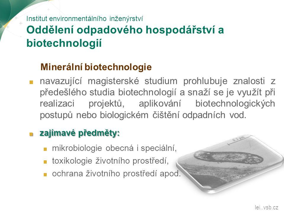 Institut environmentálního inženýrství Oddělení odpadového hospodářství a biotechnologií Minerální biotechnologie ■ navazující magisterské studium pro