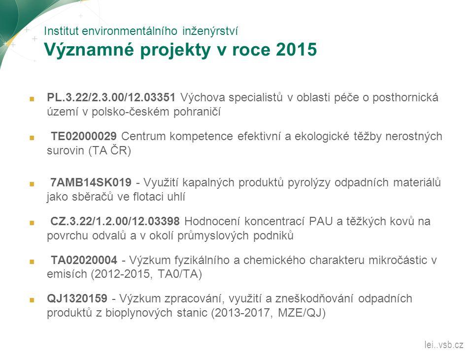 Institut environmentálního inženýrství Významné projekty v roce 2015 ■ PL.3.22/2.3.00/12.03351 Výchova specialistů v oblasti péče o posthornická území