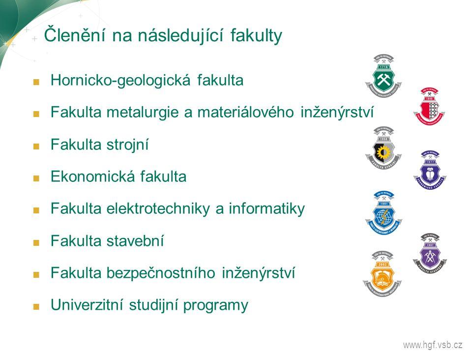 Členění na následující fakulty ■ Hornicko-geologická fakulta ■ Fakulta metalurgie a materiálového inženýrství ■ Fakulta strojní ■ Ekonomická fakulta ■
