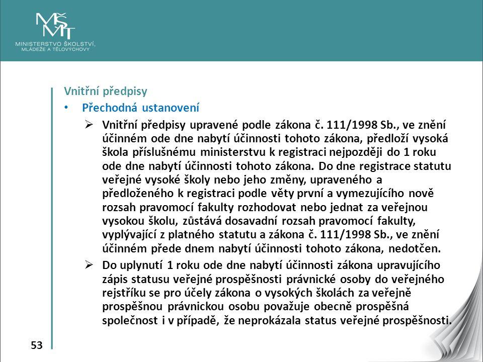 53 Vnitřní předpisy Přechodná ustanovení  Vnitřní předpisy upravené podle zákona č.