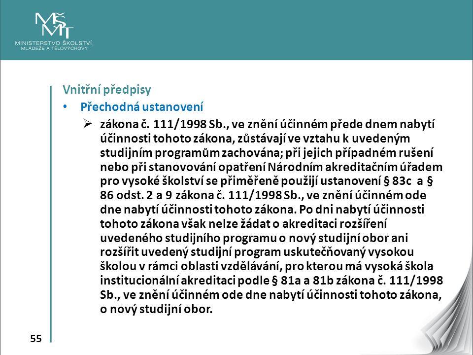 55 Vnitřní předpisy Přechodná ustanovení  zákona č.