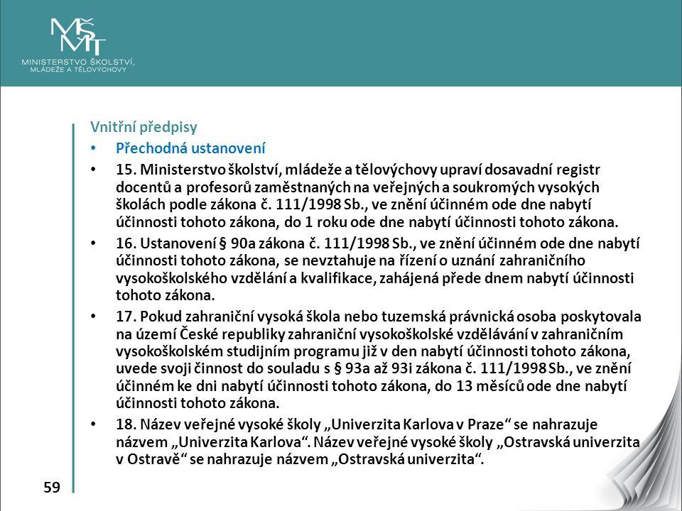 59 Vnitřní předpisy Přechodná ustanovení 15.