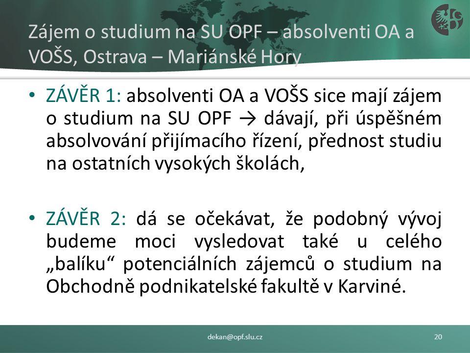 Zájem o studium na SU OPF – absolventi OA a VOŠS, Ostrava – Mariánské Hory ZAPSANÍ/PŘIJATÍ: 47,05 % (Bc.), 87,38 % (Ing.) a 100,00 % (Ph.D.), ZAPSANÍ/