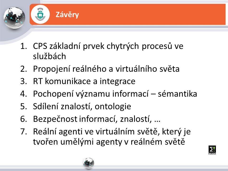 Závěry 1.CPS základní prvek chytrých procesů ve službách 2.Propojení reálného a virtuálního světa 3.RT komunikace a integrace 4.Pochopení významu informací – sémantika 5.Sdílení znalostí, ontologie 6.Bezpečnost informací, znalostí, … 7.Reální agenti ve virtuálním světě, který je tvořen umělými agenty v reálném světě