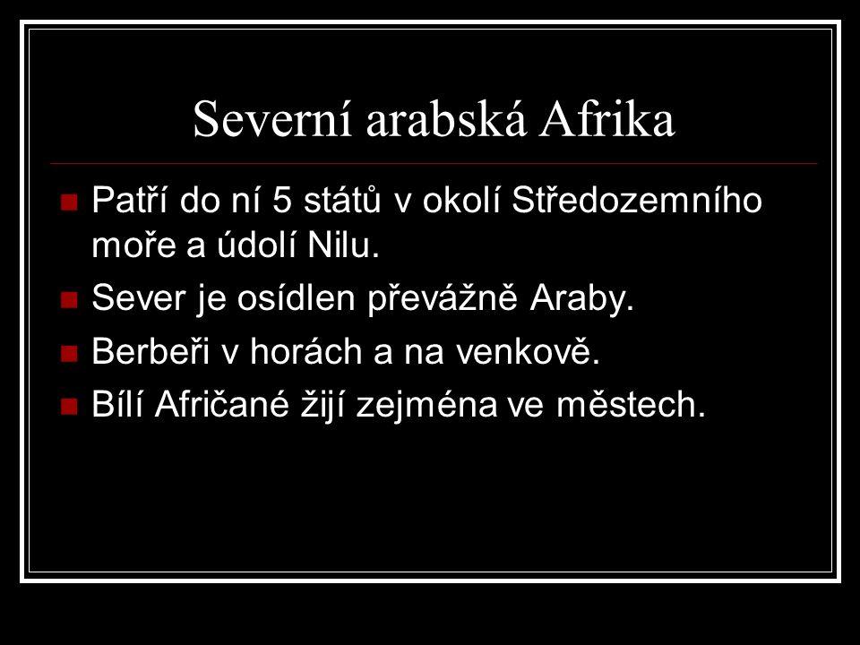 Severní arabská Afrika Patří do ní 5 států v okolí Středozemního moře a údolí Nilu.