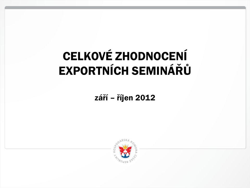 5 HK ČR, 15.11.2012 CELKOVÉ ZHODNOCENÍ EXPORTNÍCH SEMINÁŘŮ září – říjen 2012