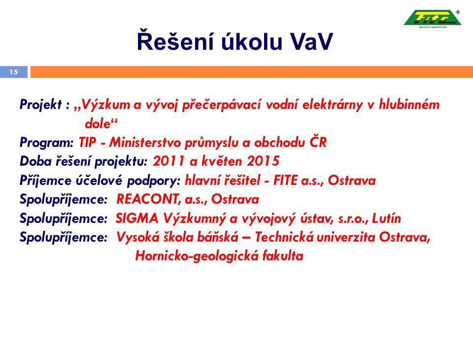 """Řešení úkolu VaV 15 Projekt : """"Výzkum a vývoj přečerpávací vodní elektrárny v hlubinném dole"""" Program: TIP - Ministerstvo průmyslu a obchodu ČR Doba ř"""