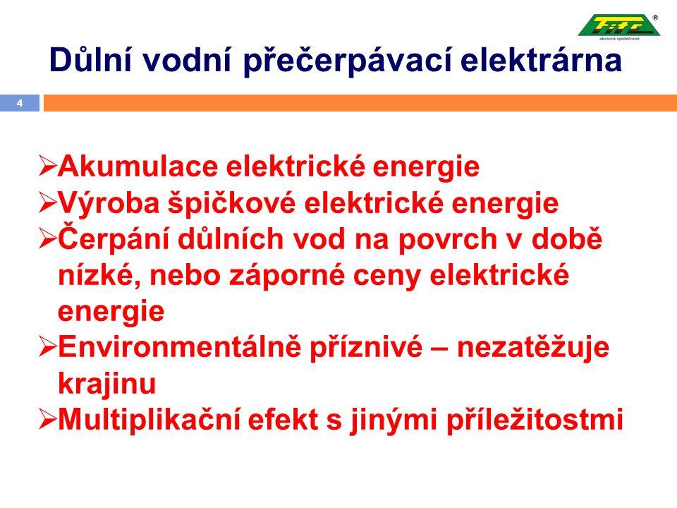 Důlní vodní přečerpávací elektrárna 4  Akumulace elektrické energie  Výroba špičkové elektrické energie  Čerpání důlních vod na povrch v době nízké, nebo záporné ceny elektrické energie  Environmentálně příznivé – nezatěžuje krajinu  Multiplikační efekt s jinými příležitostmi