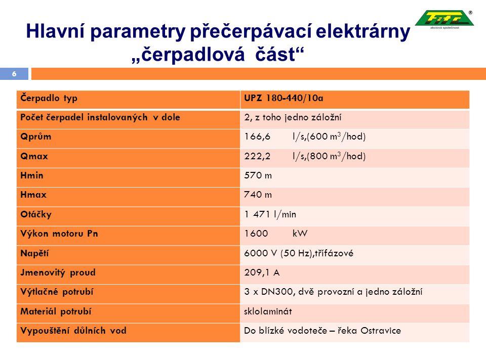 """Hlavní parametry přečerpávací elektrárny """"čerpadlová část"""" 6 Čerpadlo typUPZ 180-440/10a Počet čerpadel instalovaných v dole2, z toho jedno záložní Qp"""