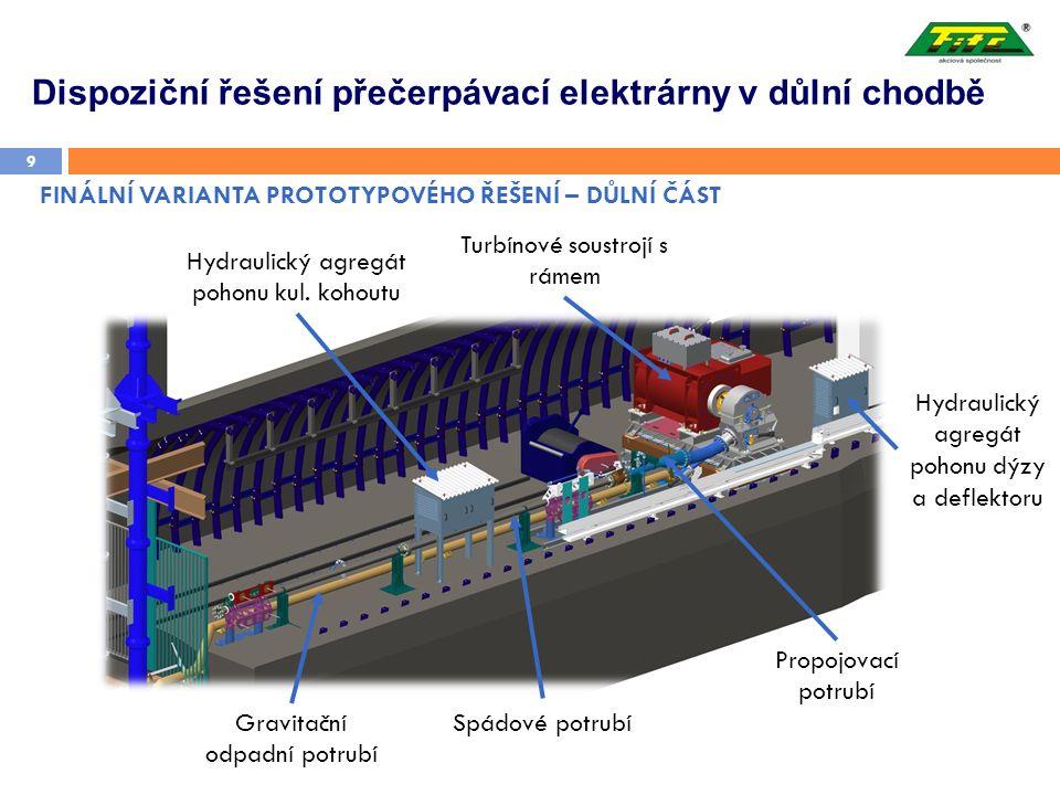 FINÁLNÍ VARIANTA PROTOTYPOVÉHO ŘEŠENÍ – DŮLNÍ ČÁST 9 Turbínové soustrojí s rámem Hydraulický agregát pohonu kul. kohoutu Hydraulický agregát pohonu dý