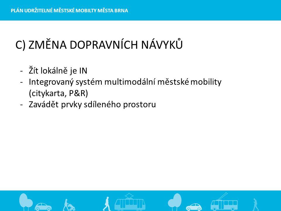 PLÁN UDRŽITELNÉ MĚSTSKÉ MOBILTY MĚSTA BRNA C) ZMĚNA DOPRAVNÍCH NÁVYKŮ -Žít lokálně je IN -Integrovaný systém multimodální městské mobility (citykarta, P&R) -Zavádět prvky sdíleného prostoru