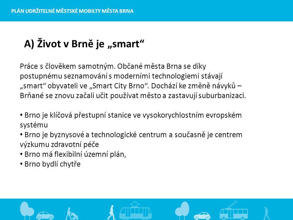 """PLÁN UDRŽITELNÉ MĚSTSKÉ MOBILTY MĚSTA BRNA A) Život v Brně je """"smart Práce s člověkem samotným."""