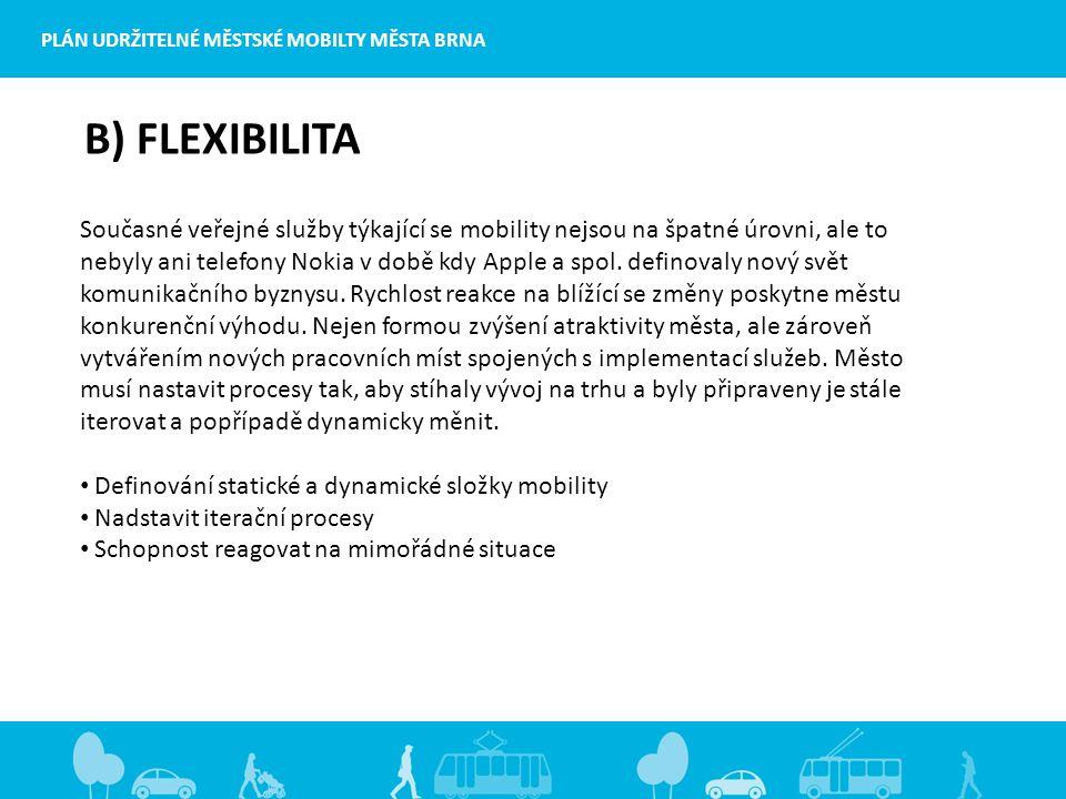 PLÁN UDRŽITELNÉ MĚSTSKÉ MOBILTY MĚSTA BRNA B) FLEXIBILITA Současné veřejné služby týkající se mobility nejsou na špatné úrovni, ale to nebyly ani telefony Nokia v době kdy Apple a spol.