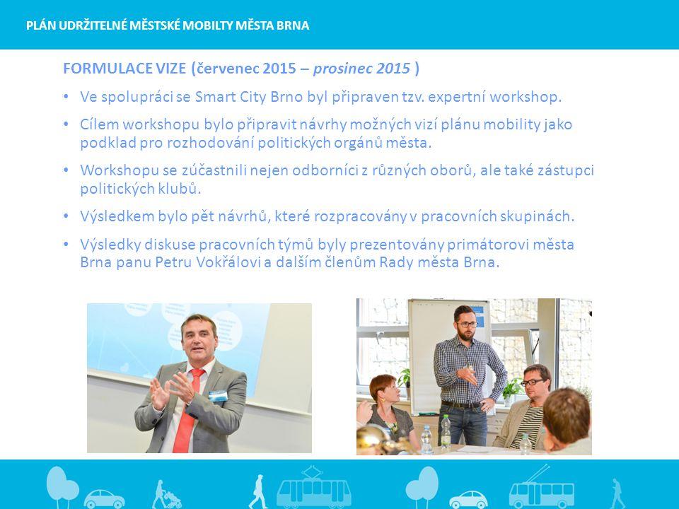 PLÁN UDRŽITELNÉ MĚSTSKÉ MOBILTY MĚSTA BRNA FORMULACE VIZE (červenec 2015 – prosinec 2015 ) Ve spolupráci se Smart City Brno byl připraven tzv.