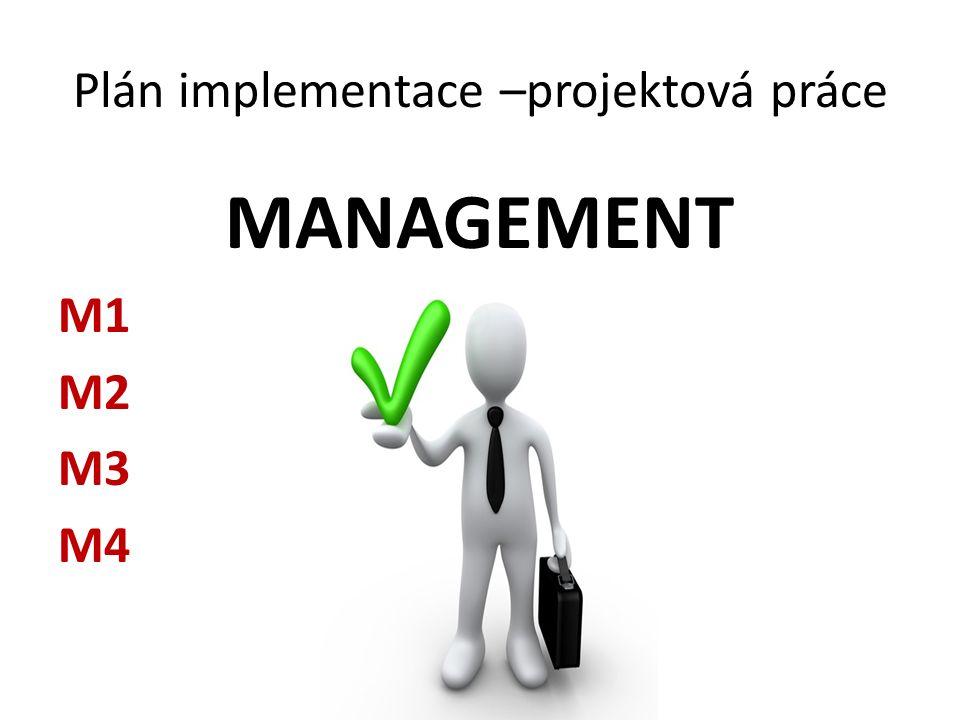 Plán implementace –projektová práce MANAGEMENT M1 M2 M3 M4