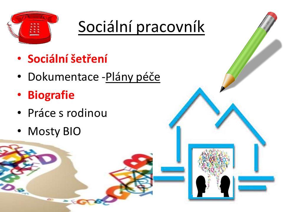 Sociální pracovník Sociální šetření Dokumentace -Plány péče Biografie Práce s rodinou Mosty BIO