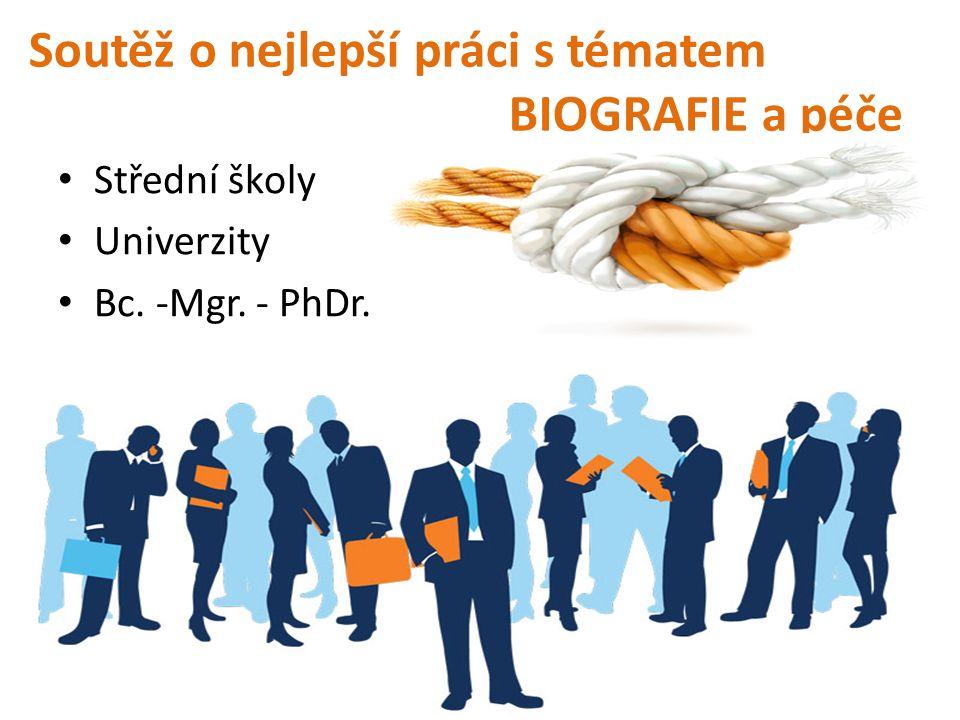 Soutěž o nejlepší práci s tématem BIOGRAFIE a péče Střední školy Univerzity Bc. -Mgr. - PhDr.